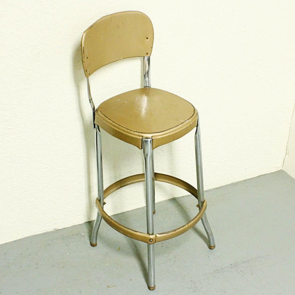 Vintage Stool Cosco Kitchen Stool Chair Gold Tan