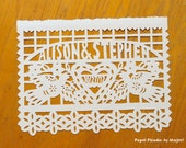 First anniversary, Original hand-cut personalized wedding papercut art, Mexican papel picado flag for framing