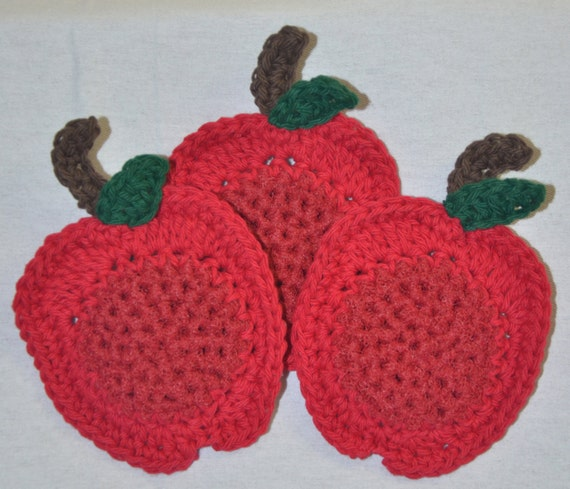 Srubby For Kitchen: Crochet Apple Dish Scrubbies Set Of 3 Kitchen By DreamsOfMay