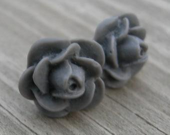 Gray Rose Sterling Post Earrings
