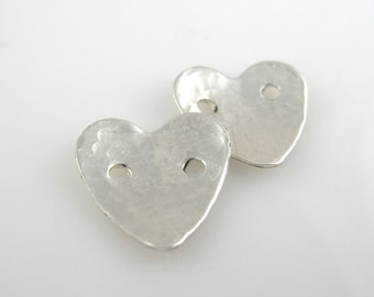 Sterling Silver Buttons, 5/8 Inch, 16mm, Textured, Hammered, Polished QTY 2