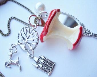 Snow White Necklace Poison Apple Magic Mirror