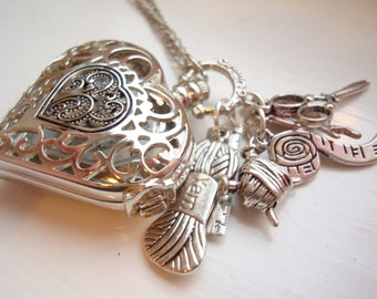 Sewing Pocket Watch Necklace with Silver Plated Charms