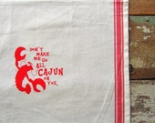 Cajun Crawfish Vintage Red Stripe Cotton Towel
