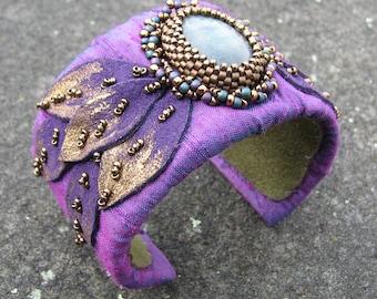 Labradorite Cuff Bracelet with Purple Dupioni Silk and Bead Embroidery