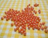70 Pieces Orange Faux Pearls