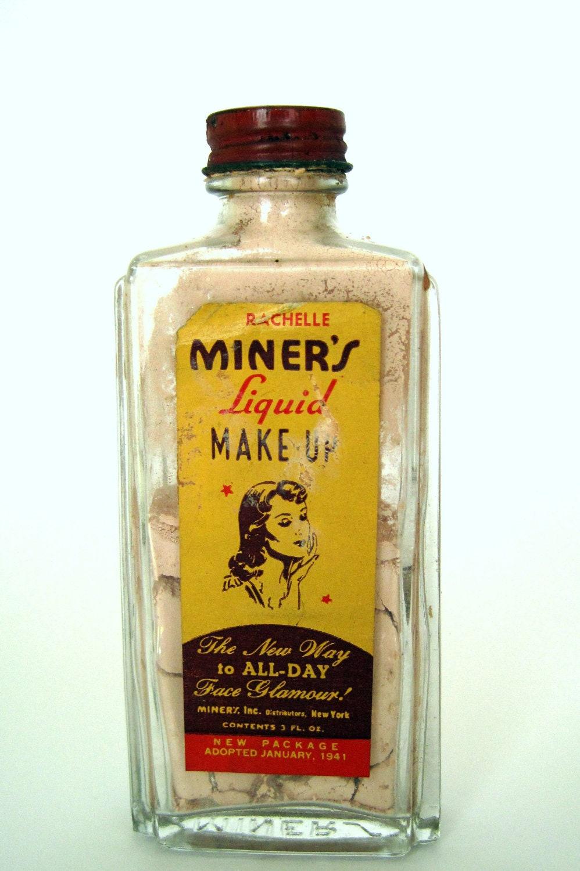 vintage 1940s Miner's liquid makeup. FREE U.S. SHIPPING