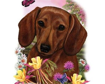 """DACHSHUND Red Smooth Dog with Flowers on ONE 18 x 22 inches Fabric Panel to Sew. Picture is 9"""" x 11"""" on white."""