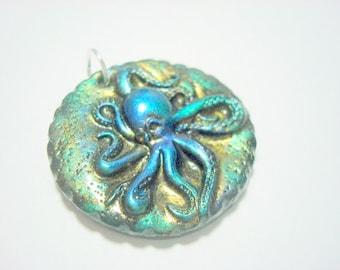 Iridescent Ocean Depths Octopus Handmade Polymer Clay Pendant