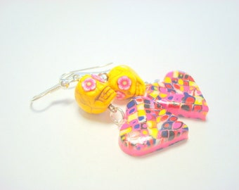 Yellow and Pink Day of the Dead Sugar Skull and Heart Earrings