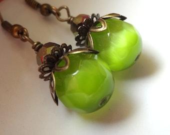 Green Earrings, Dangle Earrings, Green Stone