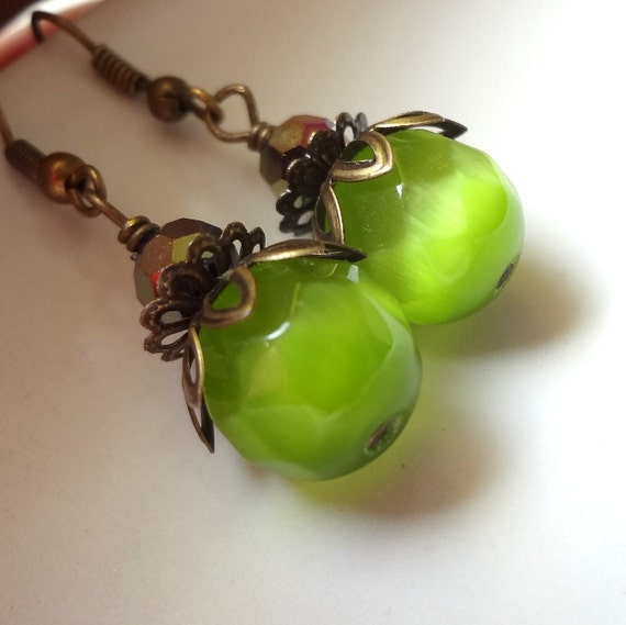 Green Earrings, Dangle Earrings, Green Stone Earrings