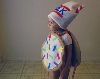 Kids Costume Childrens Costume Cookie Halloween Costume Sugar Cookie with Sprinkles and Milk Hat