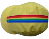 Fun Bike Cap - Bright Yellow with Rainbow Ribbon