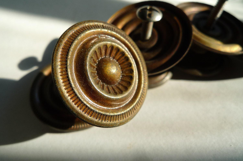 Vintage Drawer Pulls Knobs Antique Brass Metal