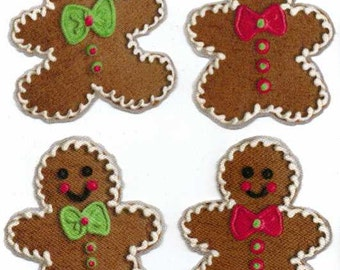 Gingerbread Christmas Cookies - Iron On Fabric Appliques