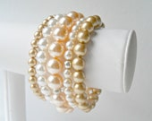 Bracelet Stack  - Golden Sand - Set of Five Colored Pearl Bracelets