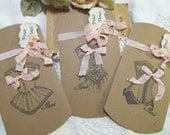 Vintage Corset Large Pillow Boxes with Tags - Set of 5 - Kraft Brown - Choose Ink & Ribbons - Bridal Shower Lingerie Bachelorette Party