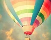 Nursery art, balloon photography, golden sunset, puffy clouds, surreal, adventure print, flying machine, wall art, wall hanging