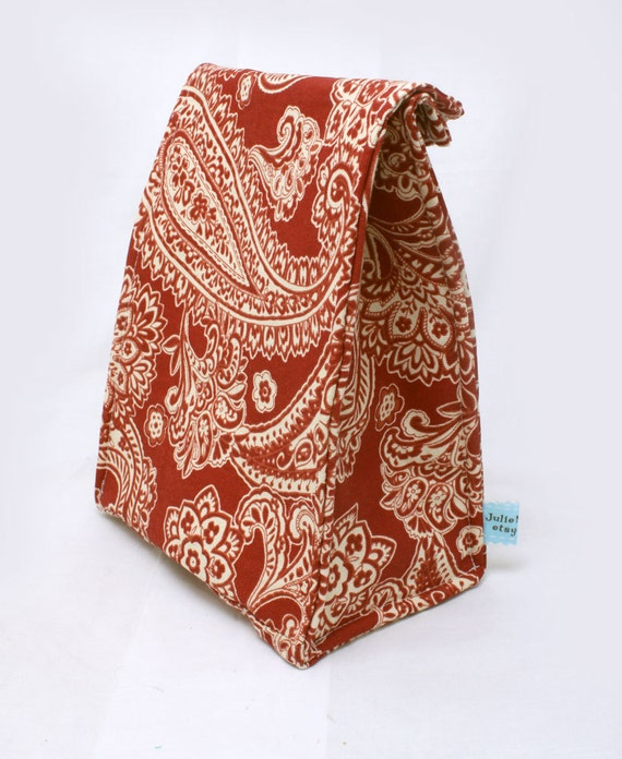Insulated Lunch Bag, Red Paisley Back to School