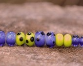 SALE Carnival Style - 10 bright lampwork glass beads, spacer set of pairs, spring green and ink blue, SRA