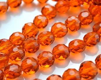 Burnt Orange 10mm Faceted Crystal Coin Beads   10