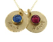 Hand stamped Gold Mothers Birthstone jewelry - Personalized necklace - TWO NAMES (NN010)