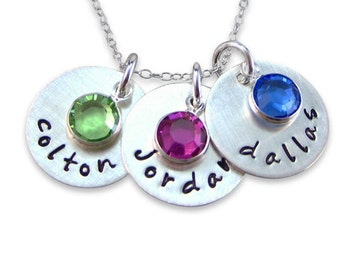 Hand stamped Jewelry - Personalized Mothers Necklace sterling silver / Keepsake with a Birthstone (NN017)