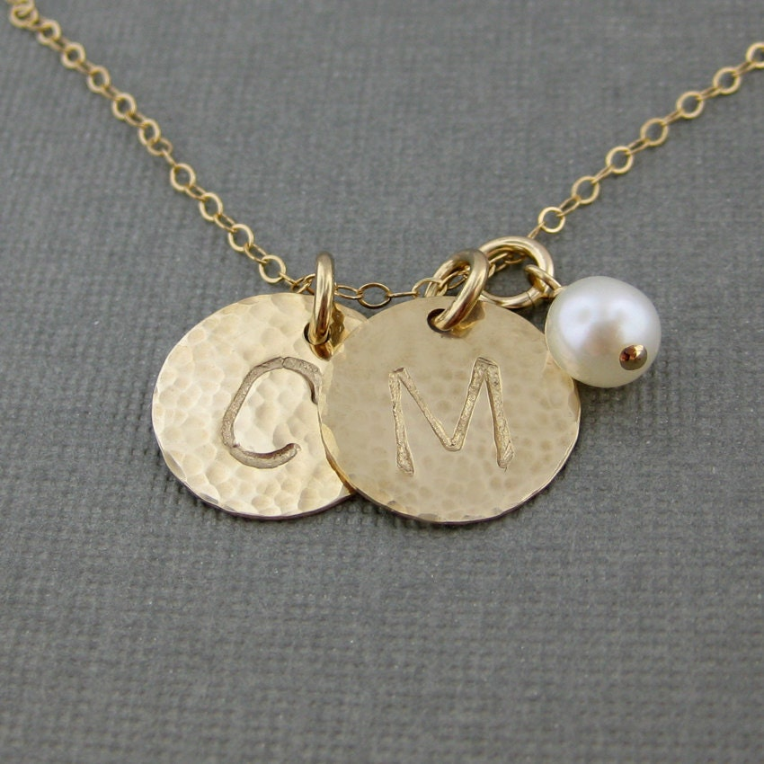 hand stamped gold filled initial jewelry personalized
