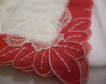 little sweet red and white vintage hanky