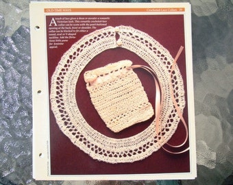 Crocheted Lace Collar Pattern and Crocheted Purse or Bag Pattern