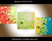 "birds art Abstract Triptych painting Impasto birds on a wire"" Beautiful Autumn"" by QIQIGALLEY"