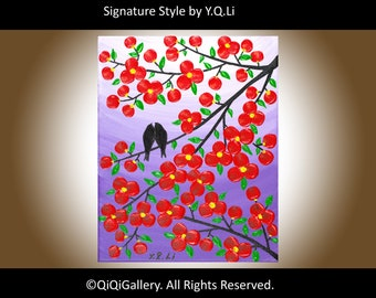 """Holiday sale Valentine's Day Hand paint Original Birds art Modern Texture Impasto Palette Knife Tree Branches Wall Décor """"Next to You"""""""