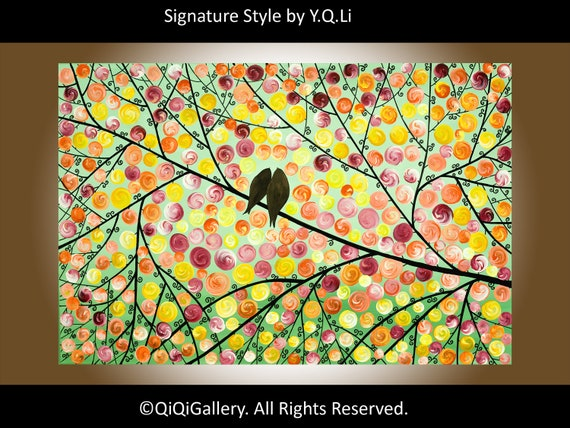 """Original Abstract Impasto Acrylic Painting Landscape Tree Branches Wall Decor """"Love Birds and Autumn Leaves"""""""