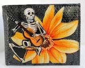 Grey Leather Bifold WALLET Day of the Dead Dia De Los Muertos SKELETON Guitar Musician