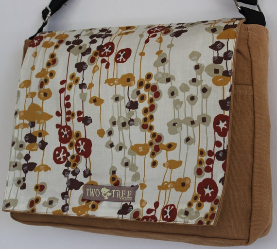 Camel Tan FLORAL MeSSENGER Book Laptop Diaper BAG