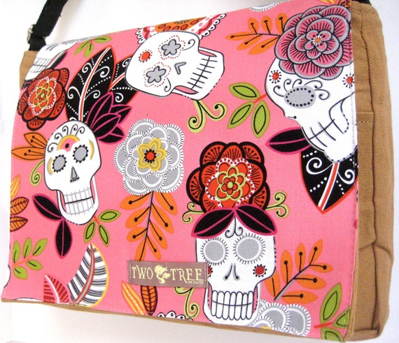 Tan Day Of The Dead Sugar Skulls MESSENGER Book Laptop Diaper BAG