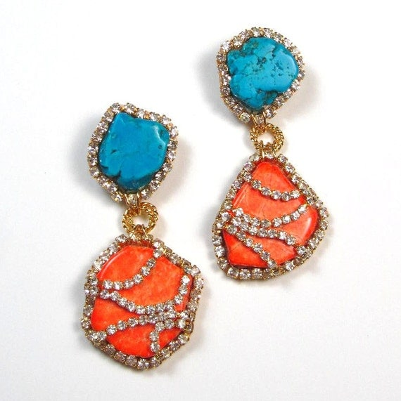 Reserved for Ephi - Statement earrings turquoise blue and tangerine crystal embellished earrings orange and blue summer earrings