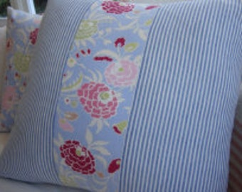 "Cottage Red FlowERs PiLLoW with ShaBBy ChiC Blue Ticking Stripe 16"" Insert"