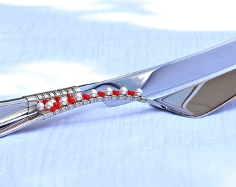 Beaded Cake Server And Knife Serving Set In SWAROVSKI Crystal And Pearls ORANGE And WHITE Table Setting Decor