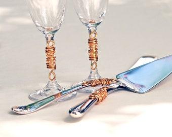 ENGRAVED CUSTOM Beaded Wedding Cake Server Knife Serving Set And Champagne Toasting Flutes Swarovski Crystal, Pearls CHOOSE Your Colors