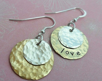Personalized Hand-Stamped Earring - CustomEarrings - Silver and Brass - E 105