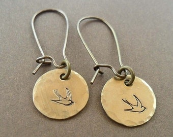 Little Sparrow  - Hand- Stamped Bird Earrings -  E 109