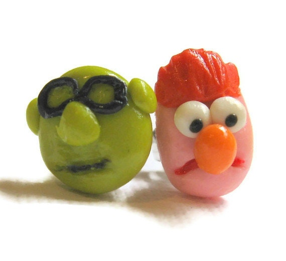 Beaker and Bunsen Stud Earrings, Sesame Street, Muppets, Polymer Clay Jewelry
