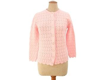 Vintage 1960s Cardigan Sweater Pink Knit Lace size Small Medium Dotty Mann of Cleveland Wintuck 100% Virgin Orlon Acrylic Vegan Friendly