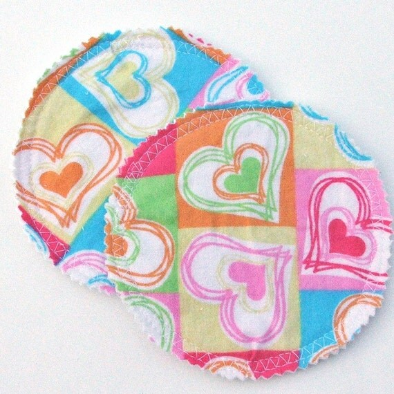 Nursing Pad Set in Bamboo and Organic Cotton with Waterproof PUL in Patchwork Hearts cotton flannel print