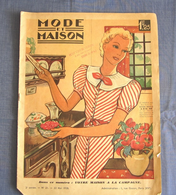 vintage french magazine mode et maison may 1938 fashion sewing. Black Bedroom Furniture Sets. Home Design Ideas