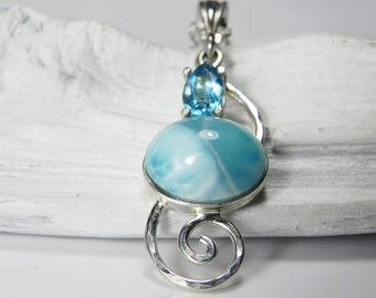 Silver Larimar Necklace - Larimar Blue Topaz Pendant - Spiral Swirl Silver Gemstone Necklace - Larimar Jewelry - Light Blue Wedding Necklace