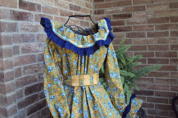 Victorian Party Dress--Prairie dress, civil war, Southern Belle with bonnet and sash--Curry color with blue trim and flowers--halloween