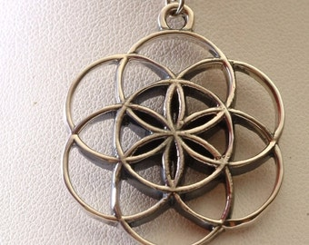 Sacred Geometry Seed of Life Pendant in Sterling Silver, with Sterling Silver Chain, Sacred Geometry Jewelry, Flower of Life Pendant